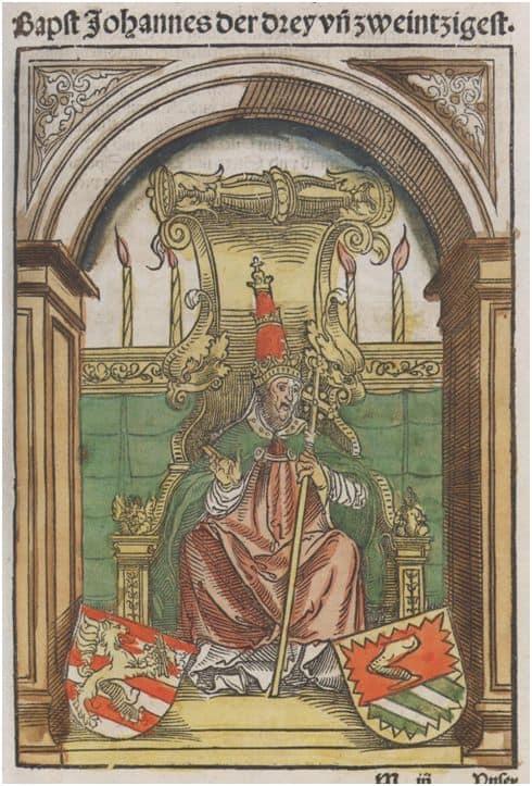 Bild des Gegenpapstes Johannes XIII. aus der Konzils-Chronik von Ullrich Richental; Quelle: Wikipedia; Rechte: gemeinfrei.
