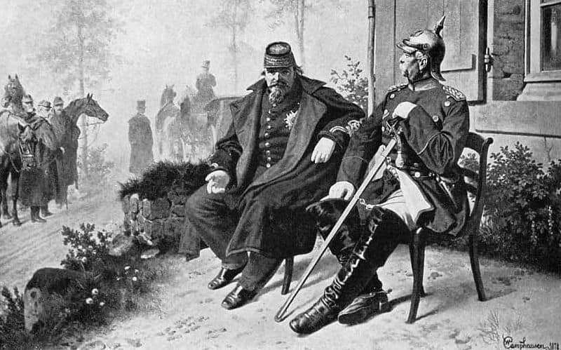 Zum 100-jährigen Geburtstag Bismarcks 1915 erschien das Buch »Bismarck. Des eisernen Kanzlers Leben in annähernd 200 seltenen Bildern nebst einer Einführung«. Das Bild zeigt Bismarck neben dem gefangen genommenen Napoleon III. nach der Schlacht von Sedan 1870. Quelle: Wikipedia, Rechte: gemeinfrei.